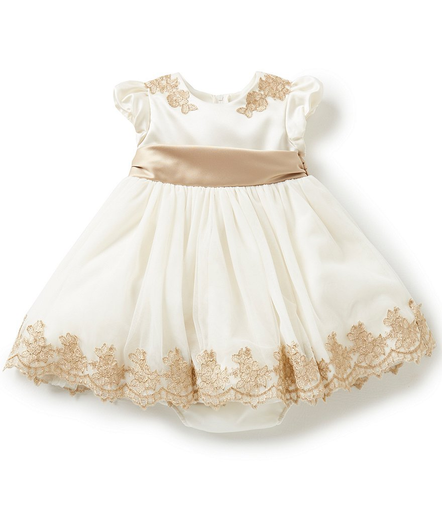 Chantilly Place Baby Girls 12-24 Months Cap-Sleeve Embroidered Dress