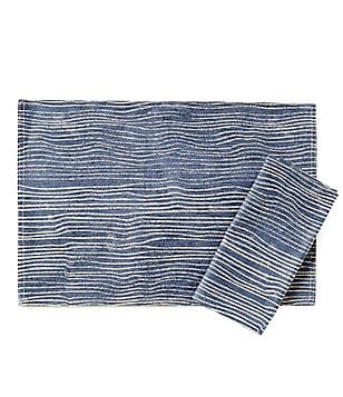 Noble Excellence Woodland Wave-Print Linen & Cotton Table Linens