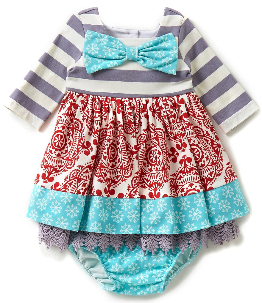 Counting Daisies Baby Girls 12-24 Months Holiday Mixed-Print Dress