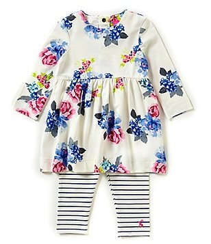 Joules Baby Girls Newborn-18 Months Long Sleeve Floral Dress and Leggings Set