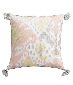 Cupcakes & Cashmere Kilim Tasseled Ikat-Embroidered Cotton Feather Square Pillow