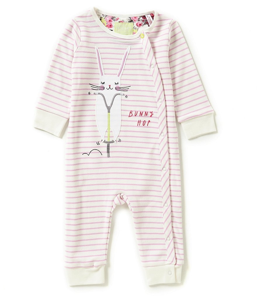 Joules Baby Girls Newborn-18 Months Baby Gracie Bunny Hop Rabbit-Appliquéd Striped Coverall