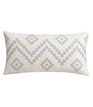 Cupcakes & Cashmere Kilim Geometric Crewel-Embroidered Cotton Canvas Feather Breakfast Pillow