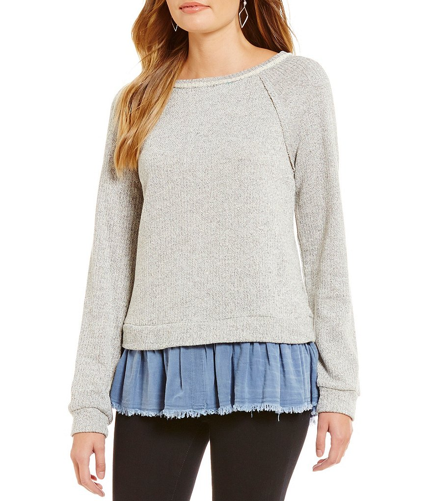 Blu Pepper Chambray Ruffle Hem Sweater