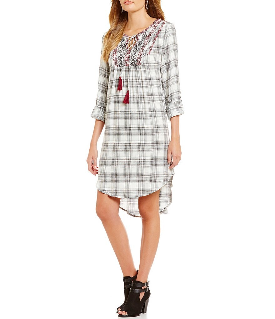 Blu Pepper Plaid Tie-Front Roll Tab Dress