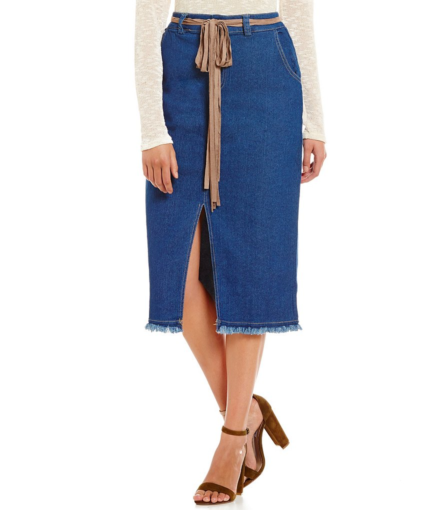 Blu Pepper Button Front Fray Hem Denim Midi Skirt