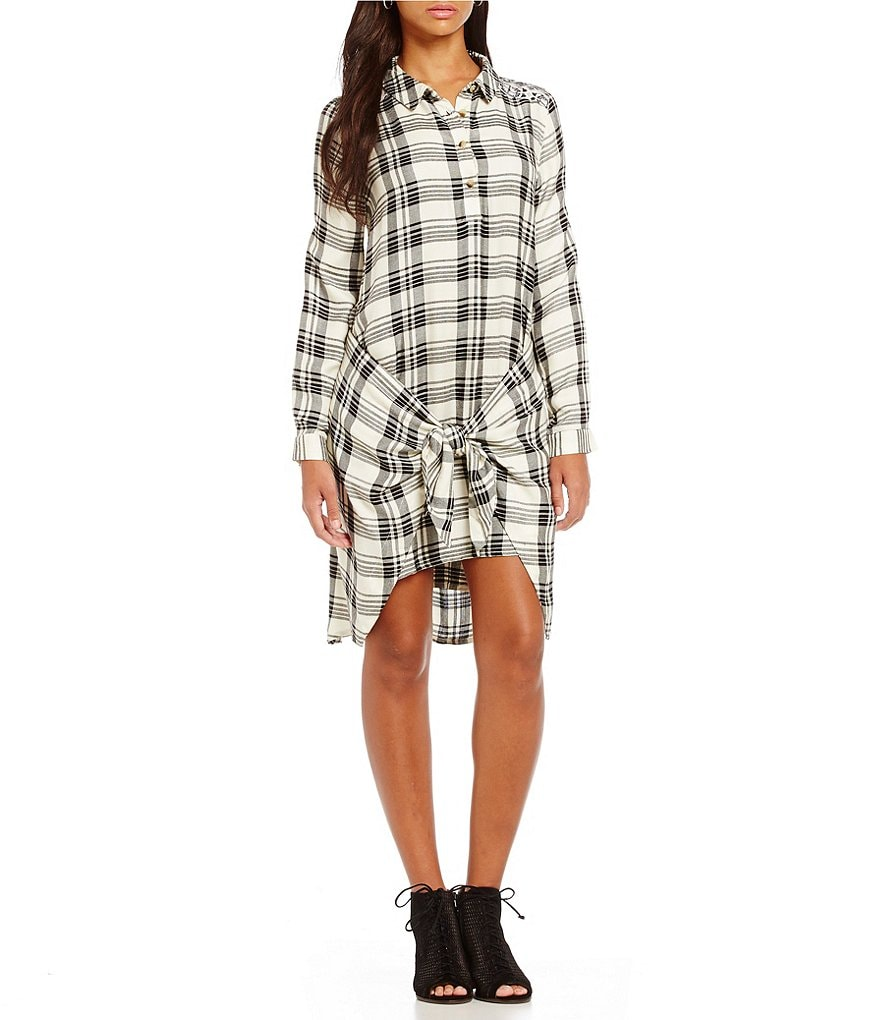 Tolani Manvi Plaid Tie-Front Tunic Dress