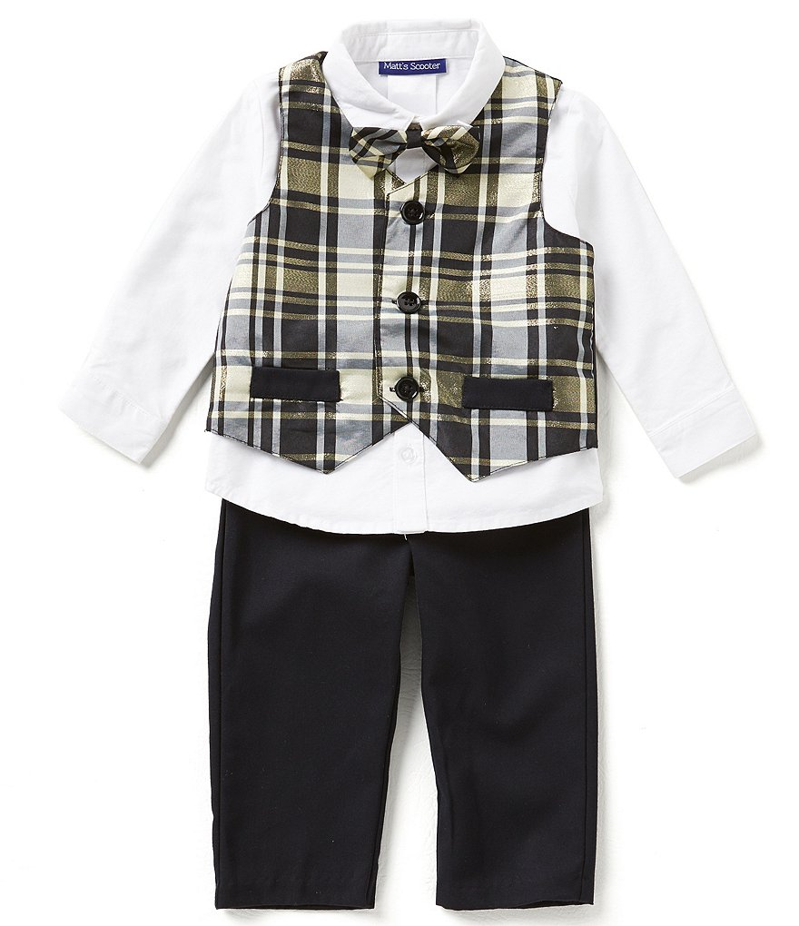 Matt's Scooter Baby Boys 12-24 Months 4-Piece Christmas Plaid Taffeta Vest Set