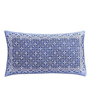 Cupcakes & Cashmere Blue Frame Silk Feather Breakfast Pillow