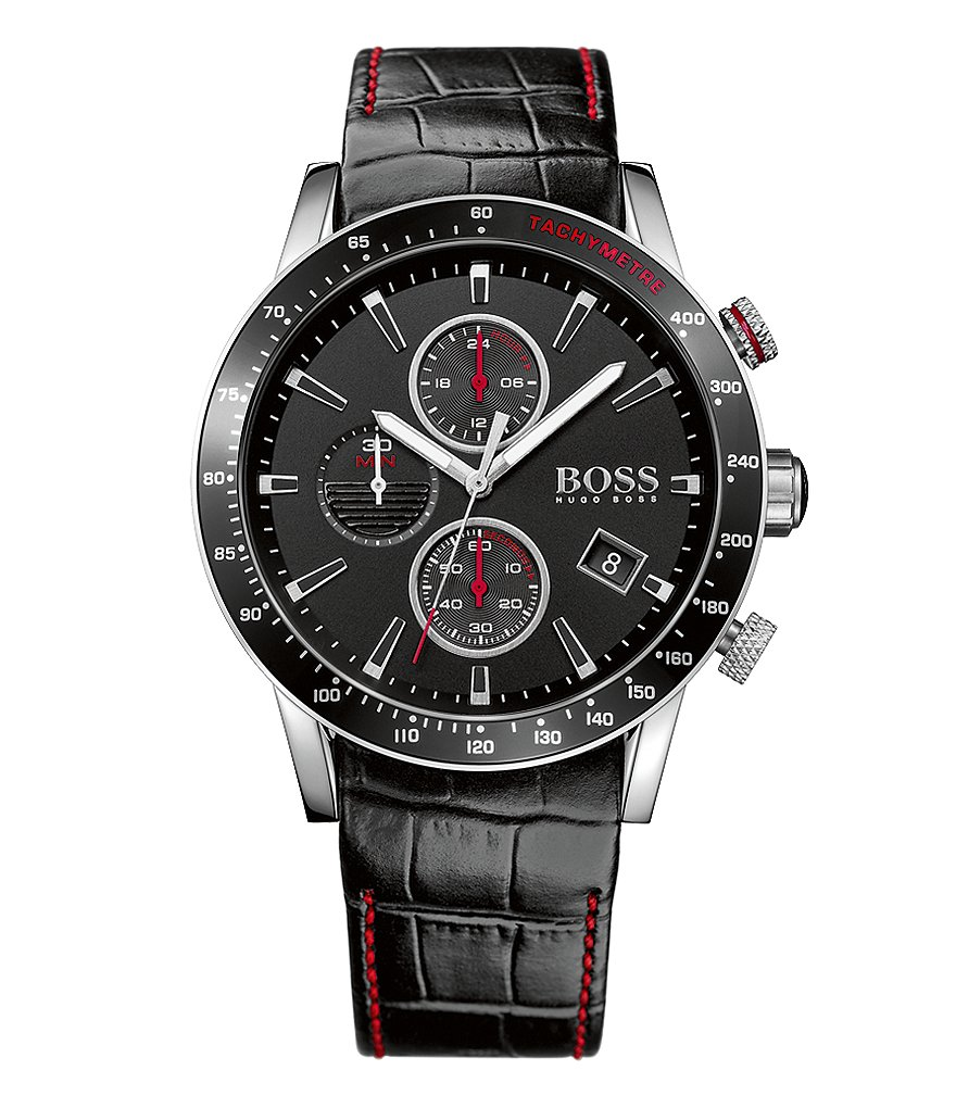 BOSS Rafale Chronograph & Date Crocodile-Embossed Leather-Strap Watch