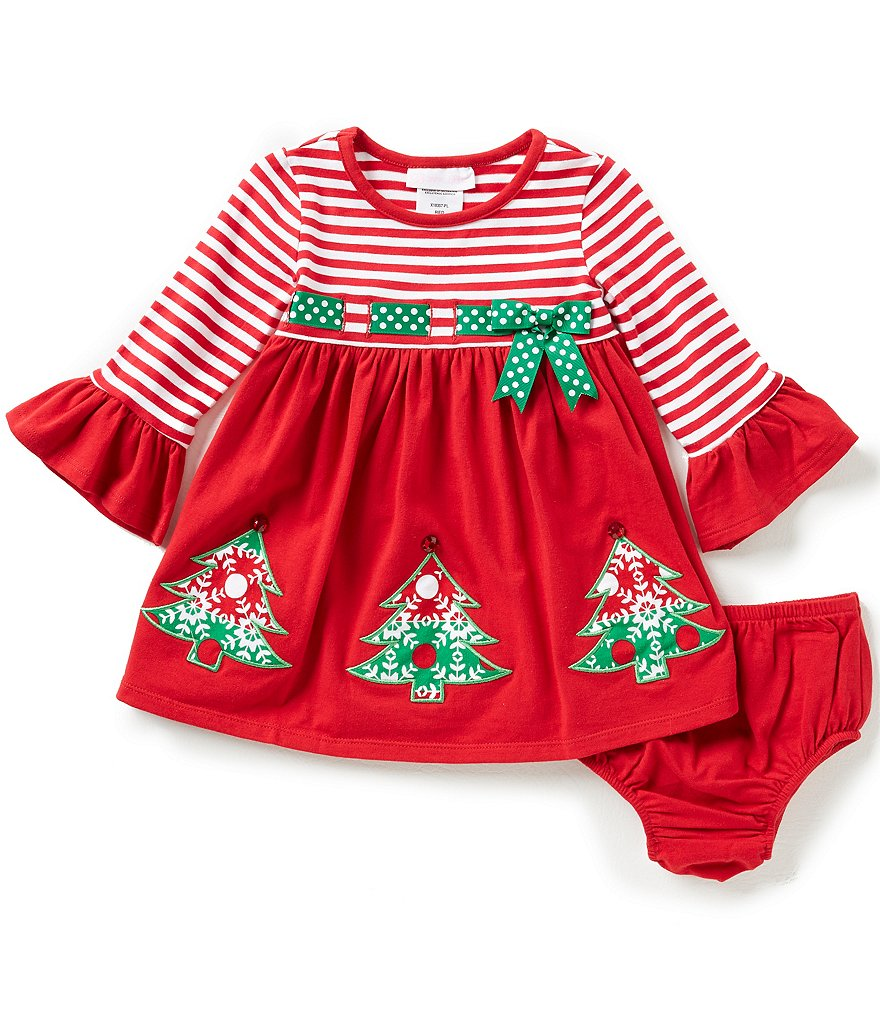 Bonnie Baby Baby Girls 12-24 Months Striped/Solid Christmas Tree Appliqued Dress