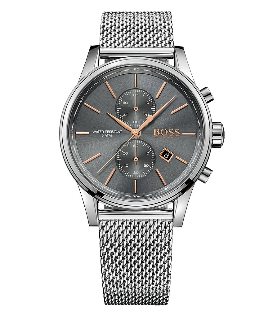BOSS Jet Chronograph & Date Stainless Steel Mesh Bracelet Watch