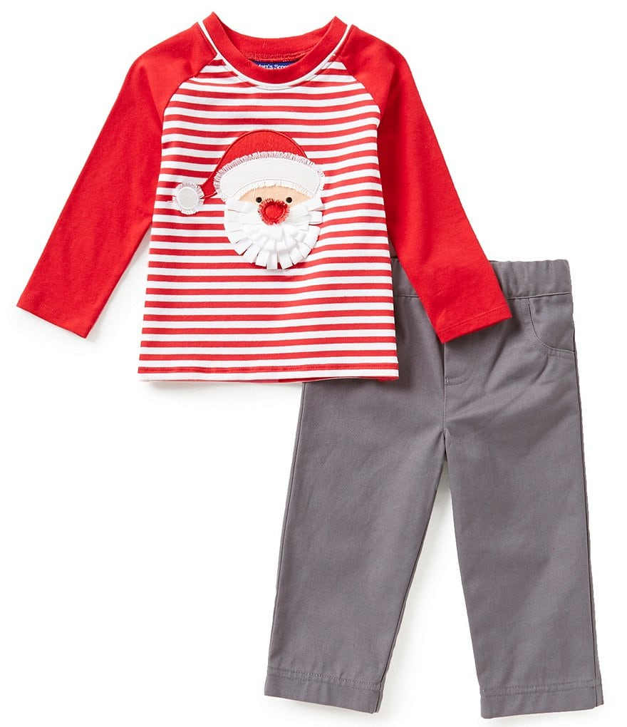 Matt's Scooter Baby Boys 12-24 Months Christmas Santa Appliqué Raglan Tee and Solid Twill Pants Set