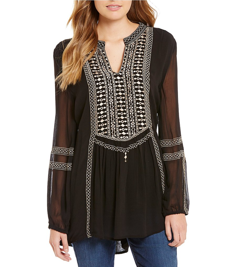 Tolani Lauren Notch Neck Long Sleeve Embroidered Tunic
