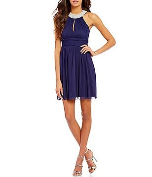 Xtraordinary Faux-Pearl Neckline A-line Party Dress