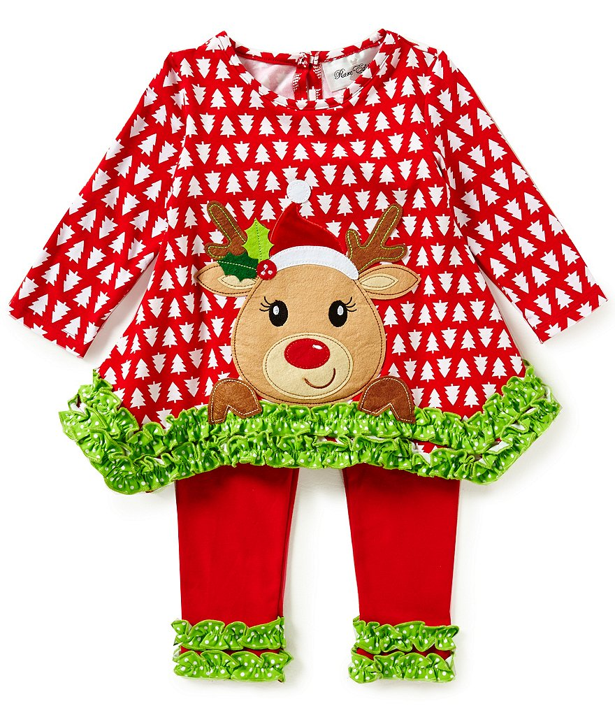 Rare Editions Little Girls 2T-6X Christmas Reindeer Top and Leggings Set