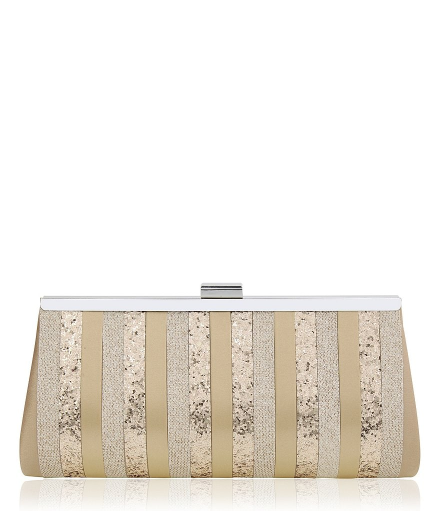 Nina Glitter-Striped Satin Frame Clutch