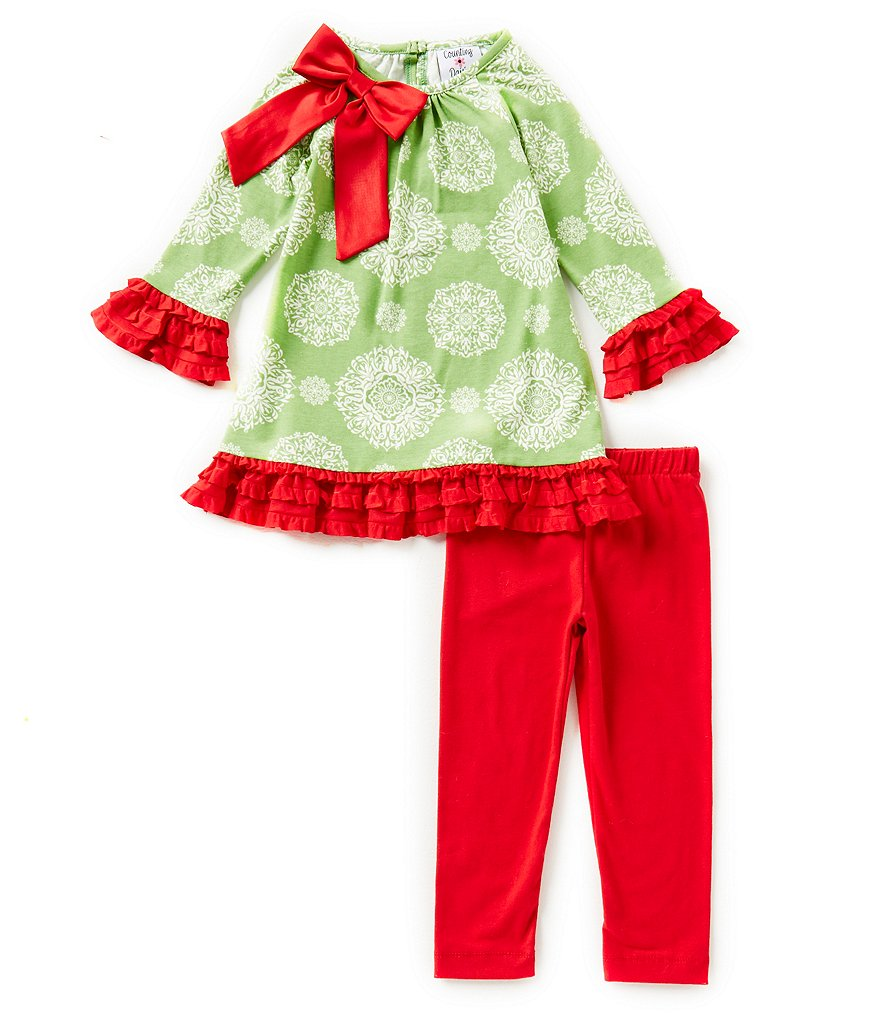 Counting Daisies Little Girls 2T-6X Holiday Medallion-Print Top & Leggings Set