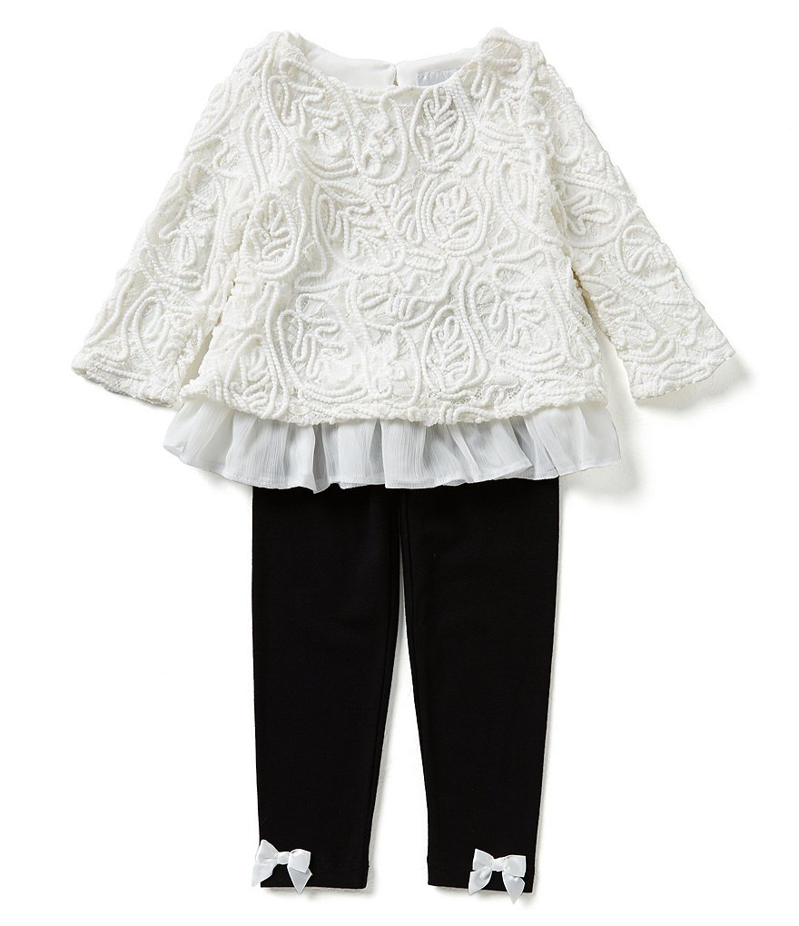 Rare Editions Little Girls 2T-6X Lace Top and Leggings Set
