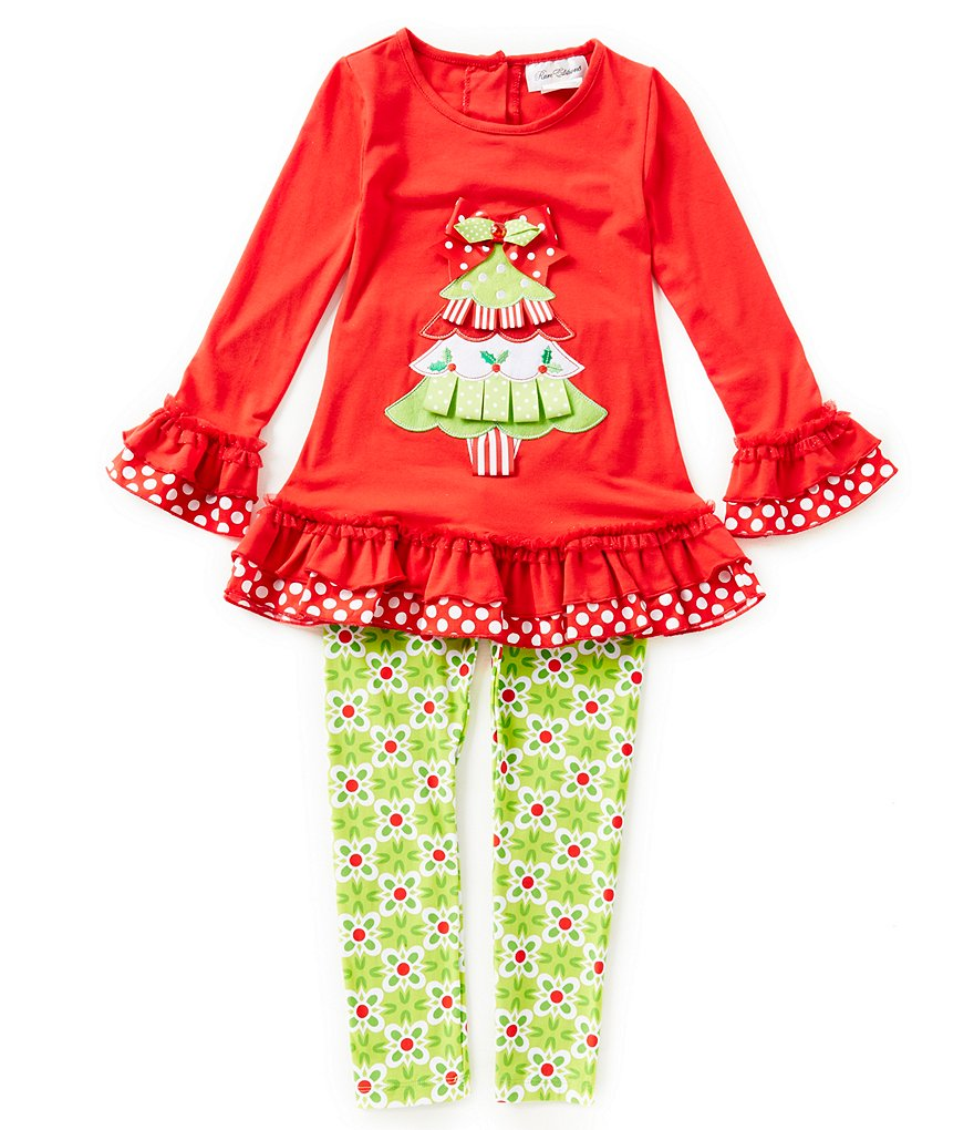 Rare Editions Big Girls 7-10 Christmas Tree Top and Printed Leggings Set