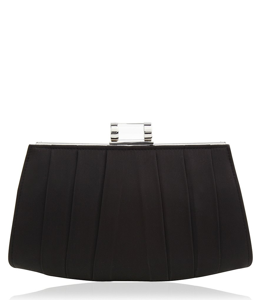Nina Pleated Satin Frame Clutch with Lucite Lock