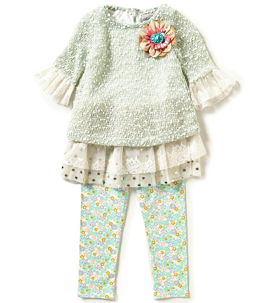 Rare Editions Little Girls 2T-6X Floral-Appliqué Sweater and Leggings Set