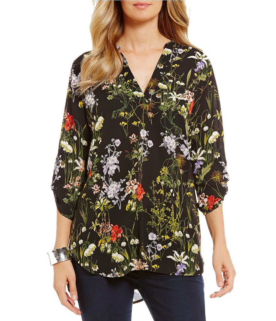 Gibson & Latimer Floral 3/4 Sleeve Tunic