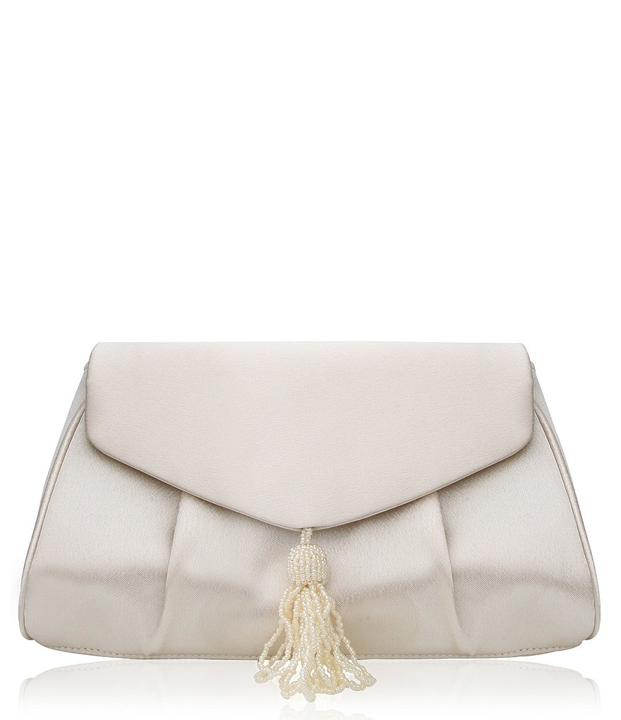 Nina Alitha Shiny Satin Clutch with Beaded Tassel