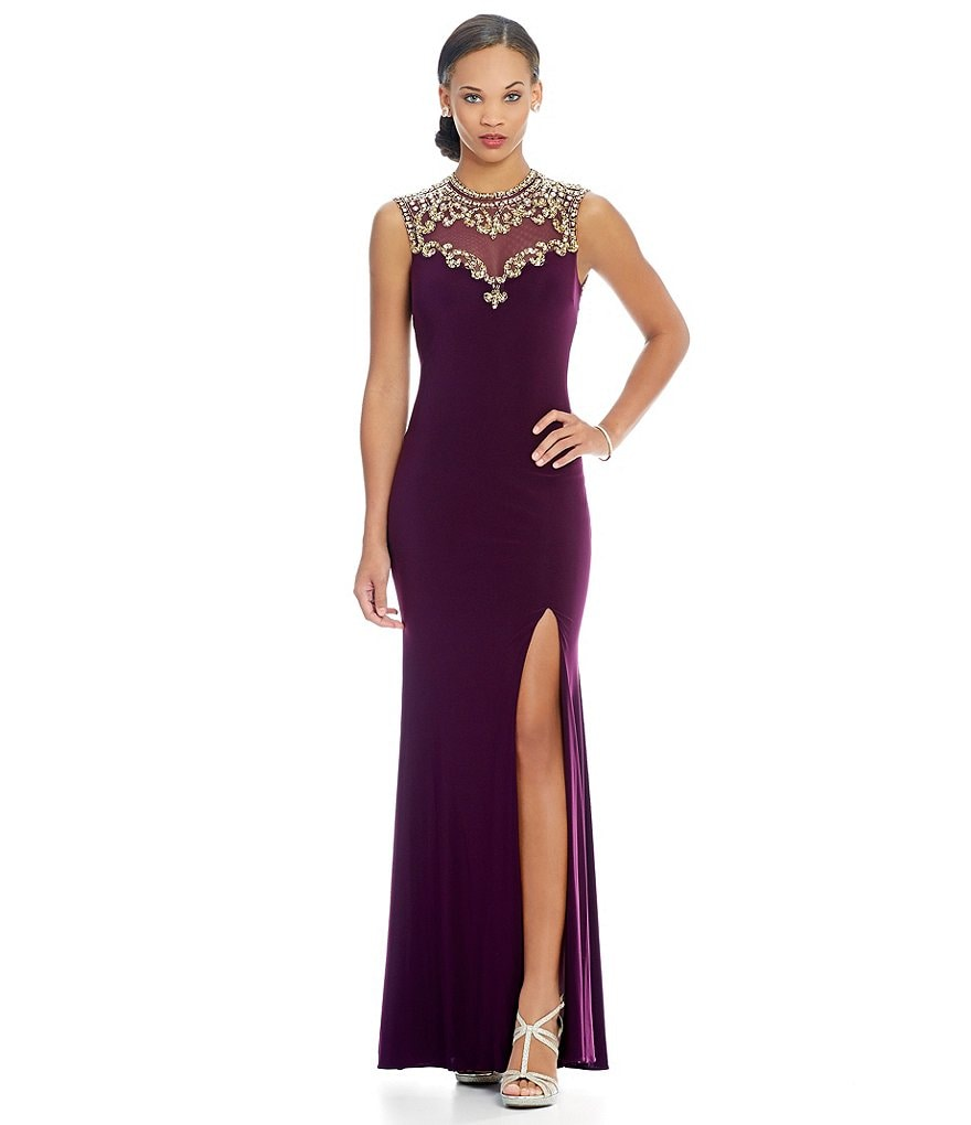 Betsy & Adam Beaded Open Back Gown