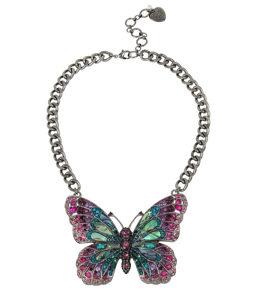 Betsey Johnson Mixed Stone Butterfly Pendant Statement Necklace