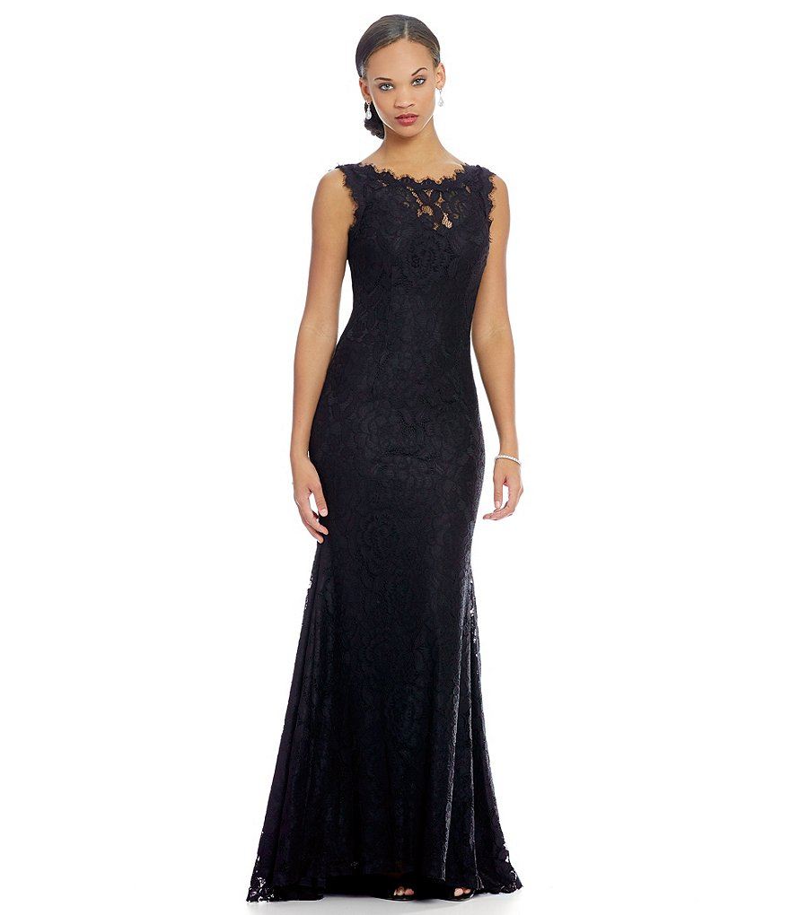 Betsy & Adam Low Back Sleeveless Lace Gown