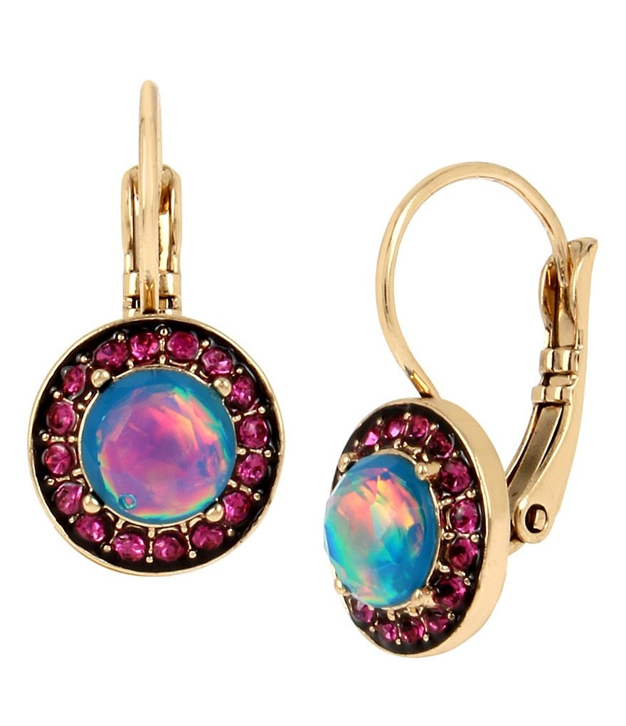 Betsey Johnson Opal Faceted Stone Drop Earrings