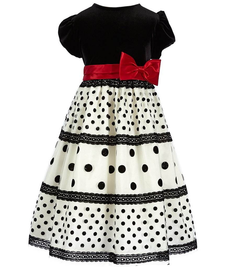 Jayne Copeland Little Girls 2T-6X Velvet Bodice Dotted-Bow Dress