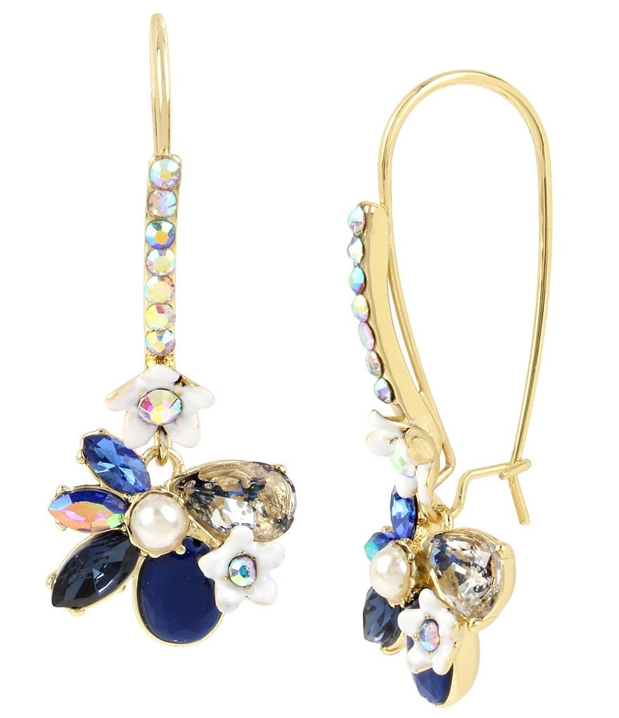 Betsey Johnson Faceted Stone Flower Drop Earrings
