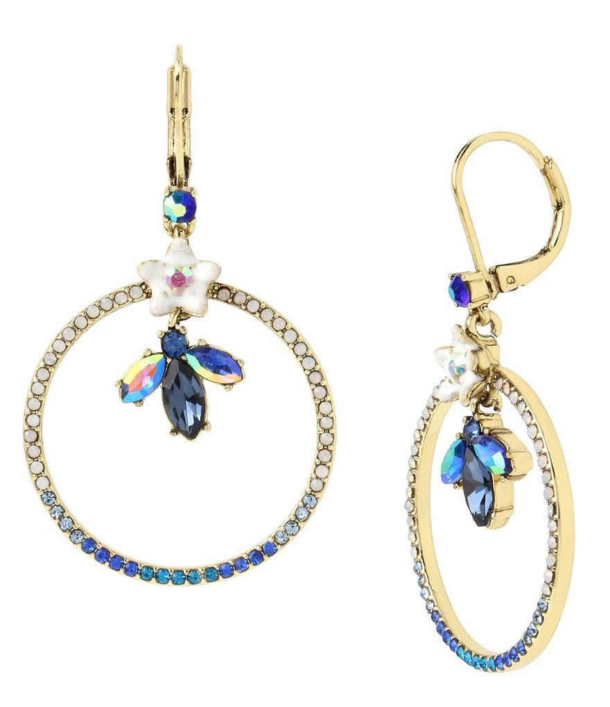 Betsey Johnson Flower & Faceted Stone Pavé Gypsy Drop Earrings