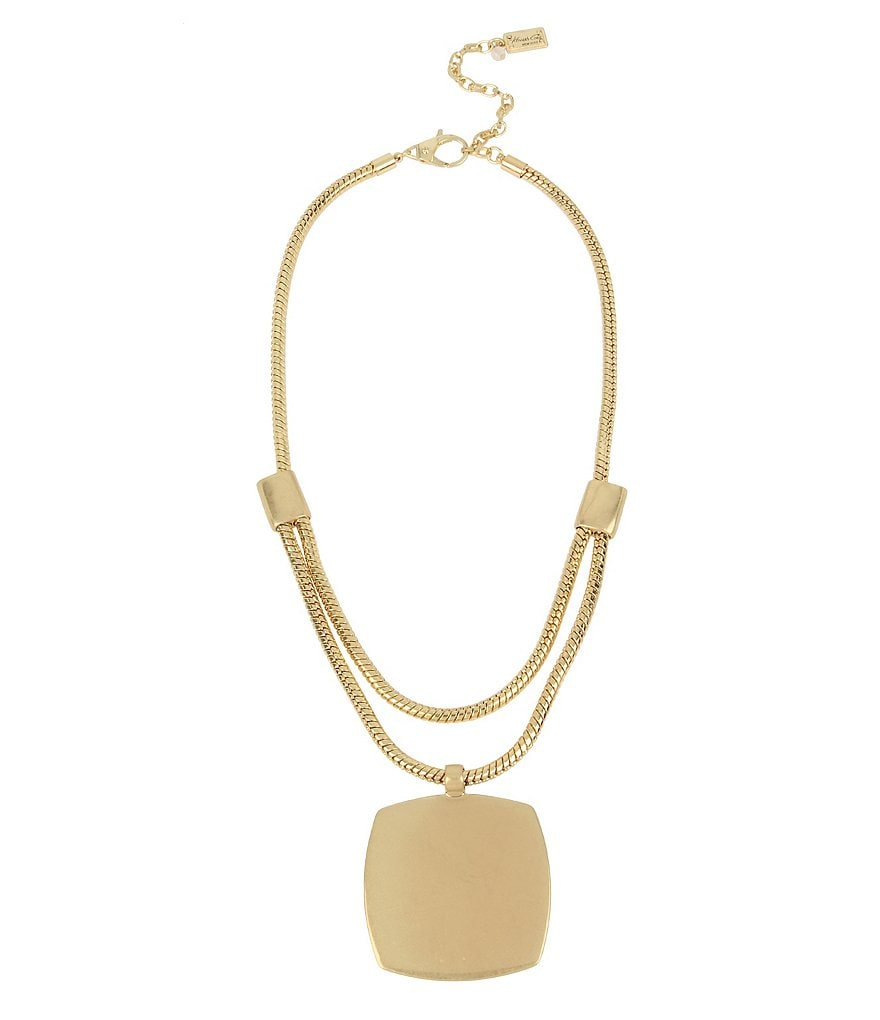 Kenneth Cole New York Large Geometric Square Pendant Necklace