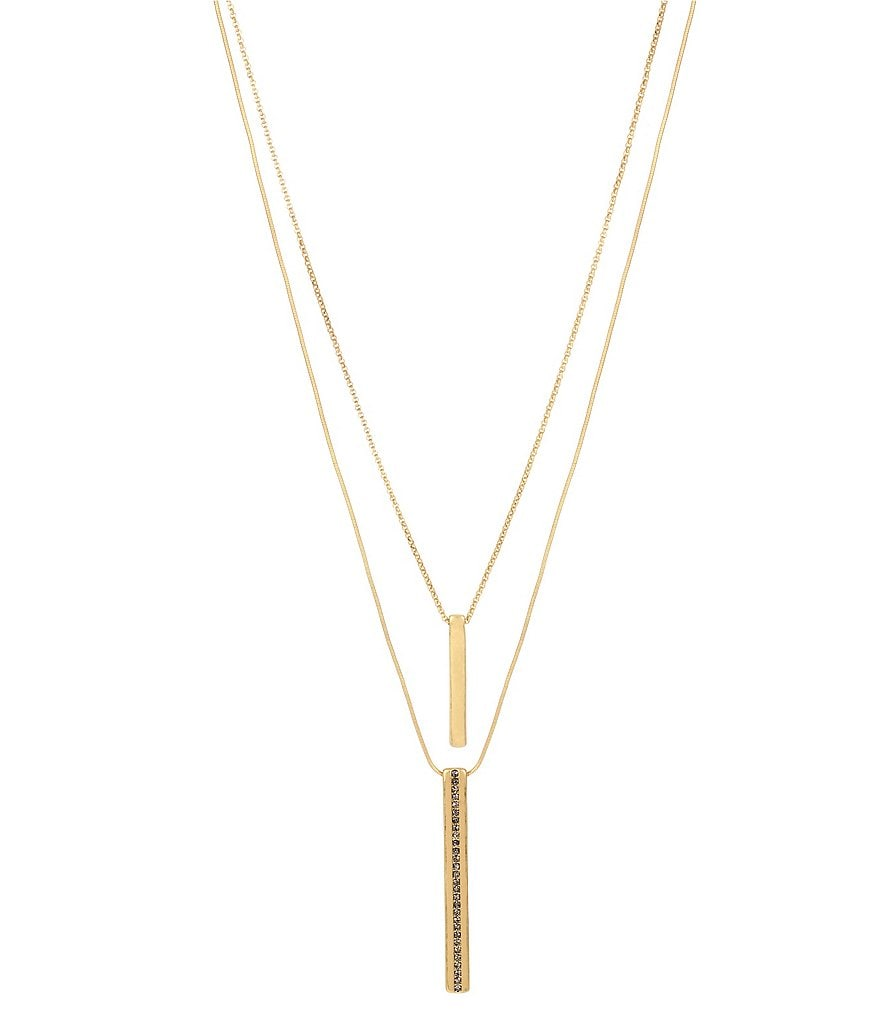 Kenneth Cole New York Pavé Stick Double Pendant Necklace