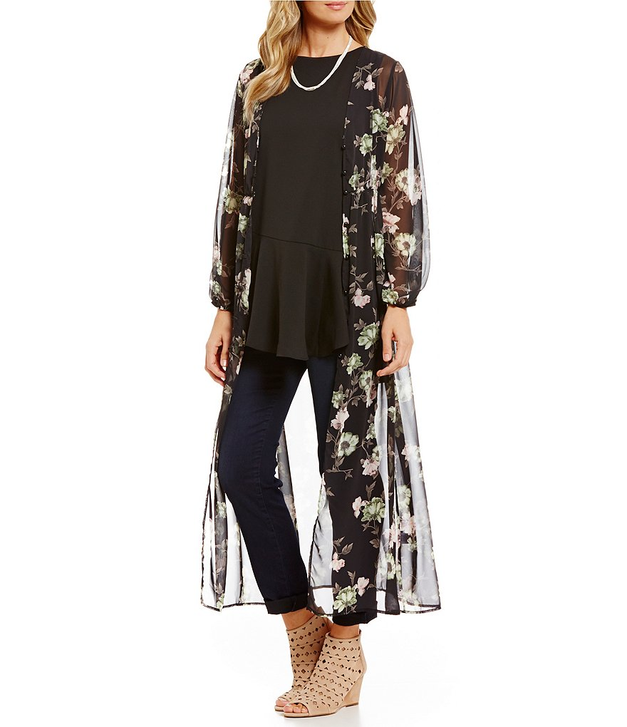 Gibson & Latimer Floral Printed Long Sleeve Duster