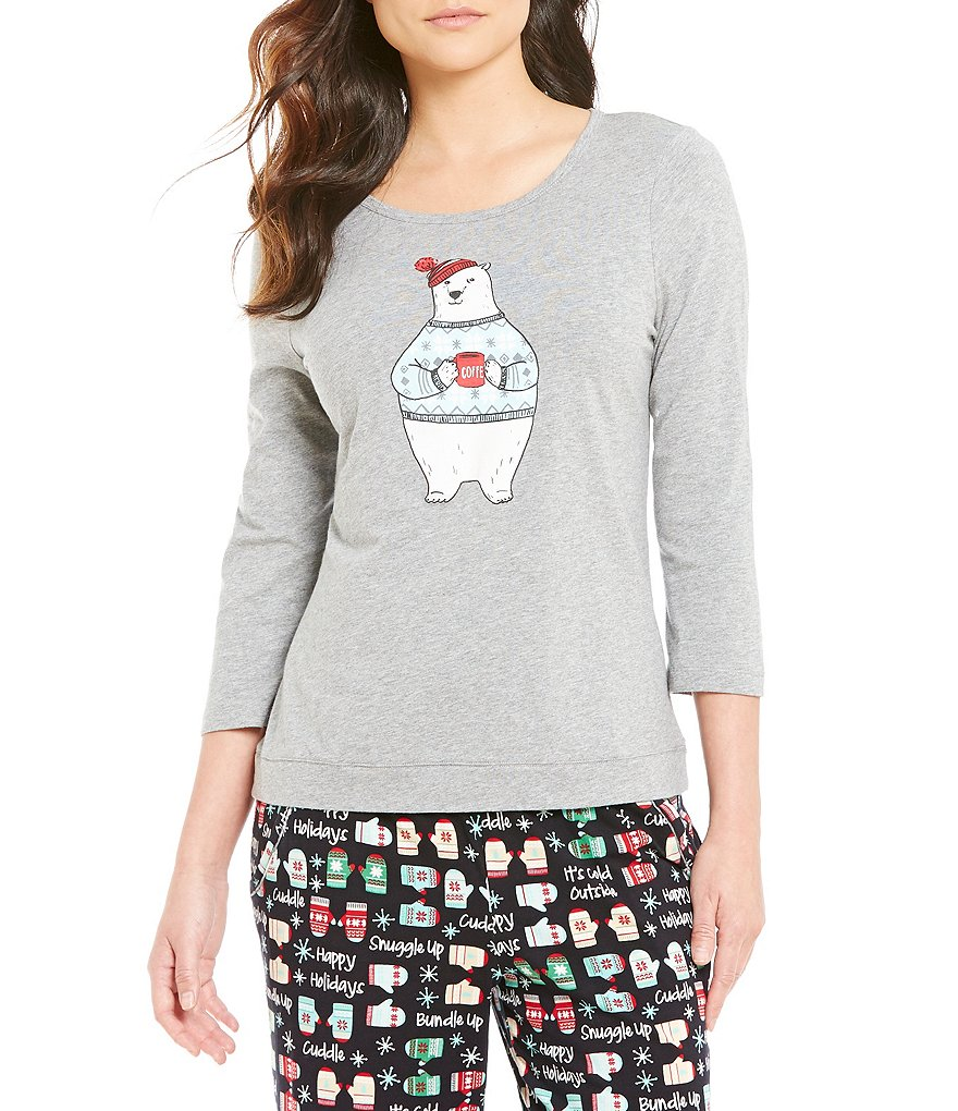 Sleep Sense Petite Holiday Polar Bear Knit Sleep Top