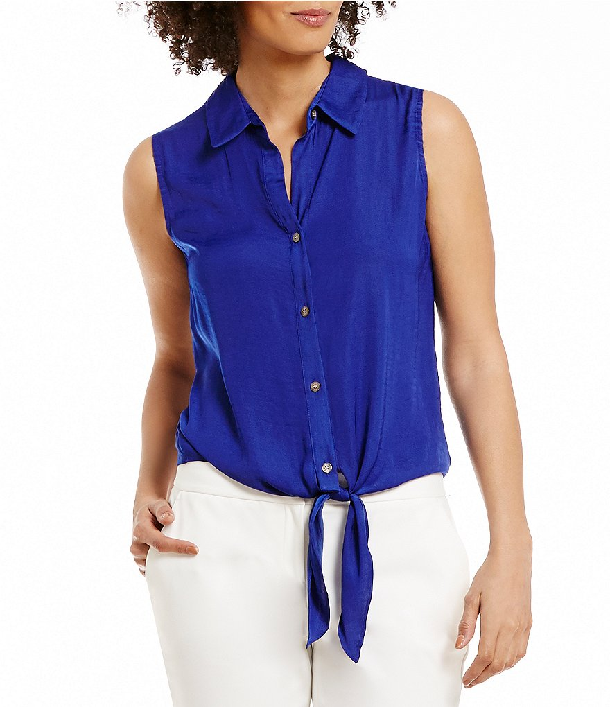 Vince Camuto Tie Front Button Down Blouse