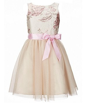 Zunie Big Girls 7-16 Floral Brocade Cut-Out Tulle Skirt Bow Dress
