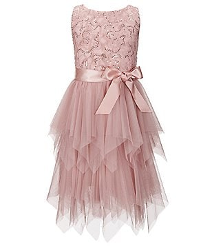 Zunie Big Girls 7-16 Sequin Pattern Tulle Asymmetrical Hem Dress