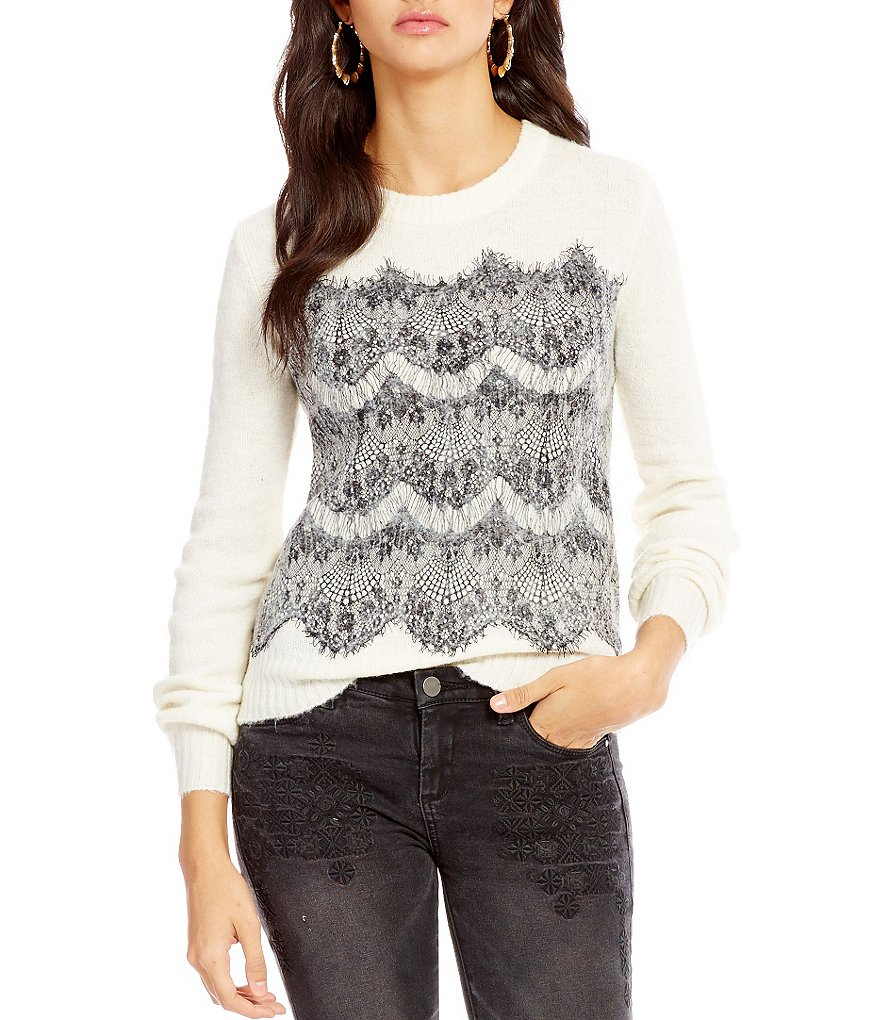 Chelsea & Violet Lace Front Crew Neck Sweater