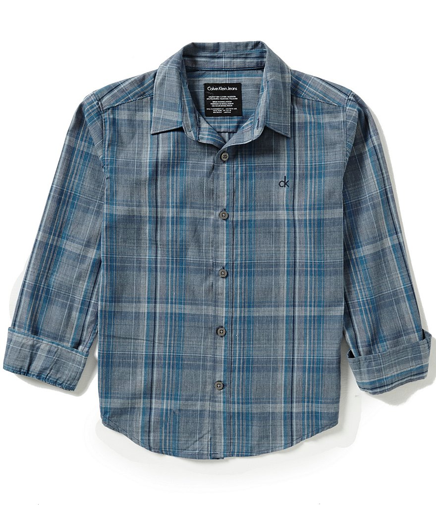 Calvin Klein Big Boys 8-20 Pivot Plaid Long-Sleeve Shirt