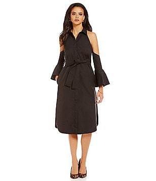 C/MEO Show Me Cold-Shoulder Long Sleeve Belted Shirt Dress