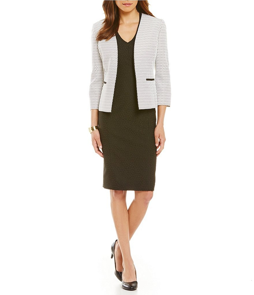 Kasper Tweed Flyaway Piping Jackets & Jacquard V-Neck Dress