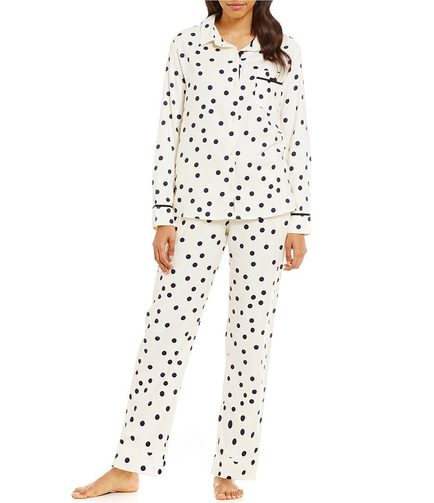 kate spade new york Shadow-Dotted Flannel Pajamas