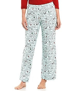 Sleep Sense Petite Holiday Word-Print Sleep Pants