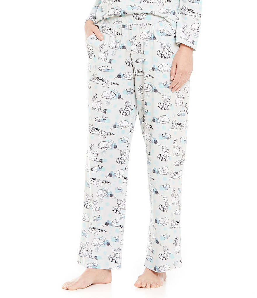 Sleep Sense Playful Cats-Print Stretch Sleep Pants