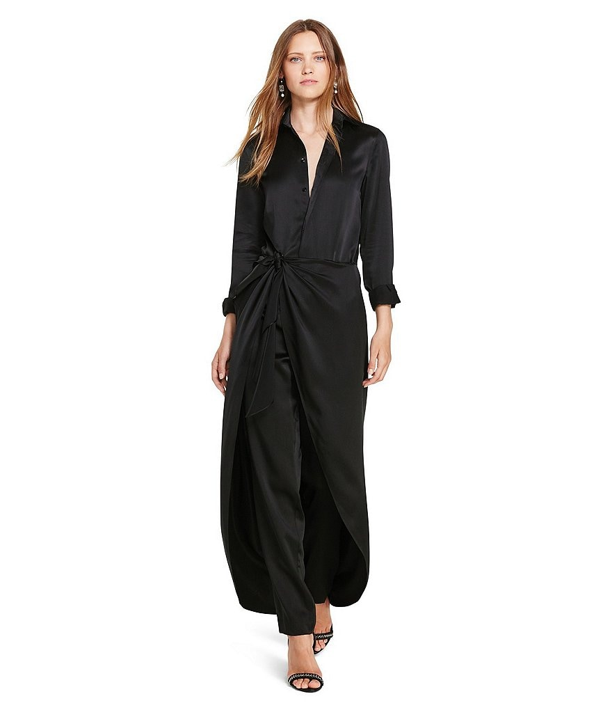 Polo Ralph Lauren Spread Collar Long Sleeve Silk Satin Jumpsuit
